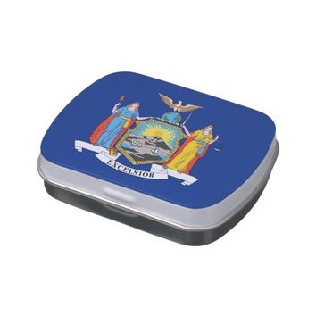 Patriotic candy tins with Flag of New York