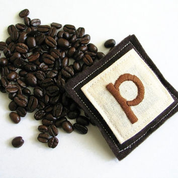 custom coffee sachets - personalized and hand embroidered with your choice of embroidery and colors (set of 2)