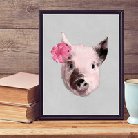 Free to Dream - pig wall art, pig art print, pig print, contemporary print, modern art print, pig art, animals wall art, wall decor, poster