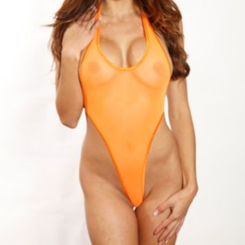 Monokini G-String - Solid Orange Mesh