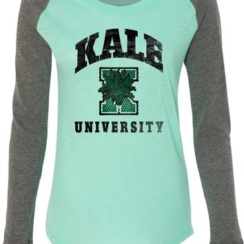 Womens Yoga T-shirt Kale University Lights Preppy Patch Elbow Tee