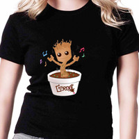 Groot Dancing Guardian Of The Galaxy TV Womens T Shirts Black And White