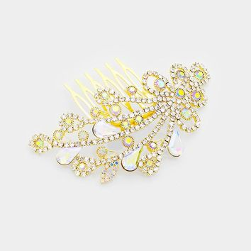 Teardrop Crystal Floral Hair Comb