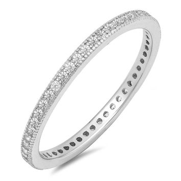 Choose Color Womens Stackable Eternity Band Rhodium Plated Sterling Silver Milgrain Eternity Wedding Band Ring CZ