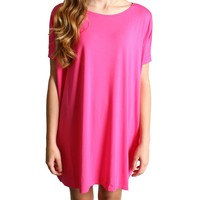 French Rose Piko Tunic Short Sleeve Dress