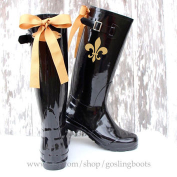 Custom Fleur De Lis Black Gloss Rain Boots with Gold Bows