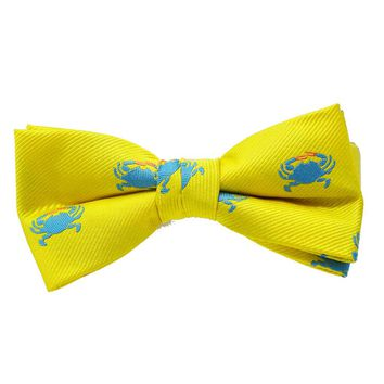 Crab Bow Tie - Yellow, Woven Silk, Pre-Tied for Kids