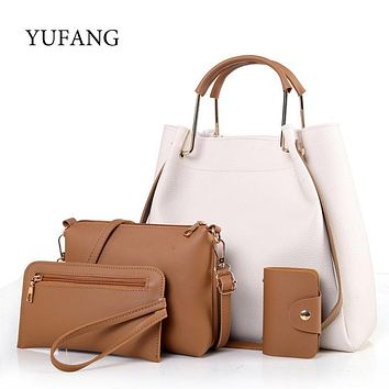 YUFANG 4pcs/set Designer Women's Handbag Leather Women Bag Female Tote Ladies Casual Messenger Bag Purse Composite Shoulder Bag