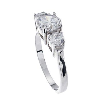 Plutus Brands 925 Sterling Silver Platinum Finish Brilliant Three Stone Engagement Ring 1.5 Carat Weight- Size 8