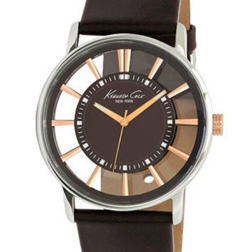 Kenneth Cole Mens Watch - Espresso-Tone Transparent Dial - Brown Leather Strap
