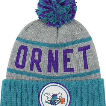 Charlotte Hornets Mitchell & Ness NBA The High 5 Vintage Cuffed Premium Knit Hat with Pom