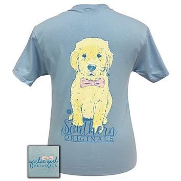SALE Girlie Girl Preppy Bowtie Puppy Blue T-Shirt