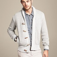 Heritage Textured Grey Shawl-Collar Cardigan