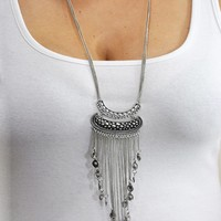Luna Half Moon Fringe Necklace Silver