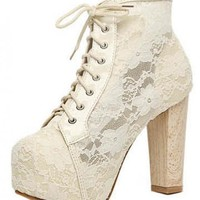 White Lace Chunky Heel Ankle Boots Shoes$50.00