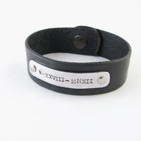 "Roman Numerals Leather Bracelet, Hand stamped Leather Bracelet, Riveted Hammered Jewelry 7.5"" or 8"""