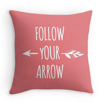 Follow Your Arrow Decorative Throw Pillow, Minimalist, 16x16, 18x18, 20x20, Available in any color!