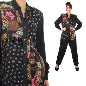 Vintage 80s 2 piece harem pants jumpsuit 1980s color block beaded fringe tunic top pant suit Patchwork print button up romper suit M Medium