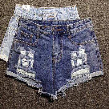Women Fashion Worn Ripped High Waist Denim Shorts