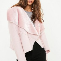 Missguided - Pink Waterfall Shearling Jacket
