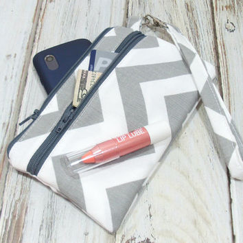 Gray Chevron Wristlet, Cell Phone Wallet, Clutch with Wristlet, Zipper Phone Clutch