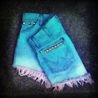 Vintage High Waisted Ombre Studded Cut Off by TrueBlueDryGoods
