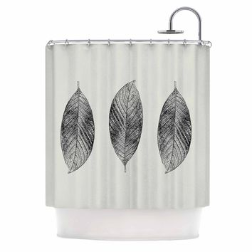 "Julia Grifol ""Three Leaves"" Black Grey Nature Shower Curtain"