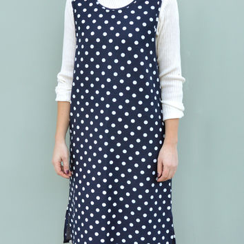 Polka Dot Midi Dress in Denim Look Blue