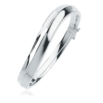 Sterling Silver 10mm High Polished Hinged Bangle Bracelet