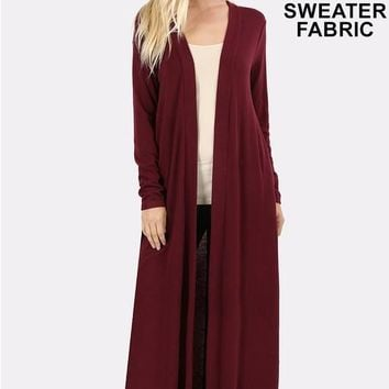 Plus Sweater Open Front Duster Long Cardigan