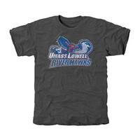 UMass Lowell River Hawks Distressed Primary Tri-Blend T-Shirt - Charcoal