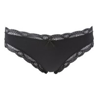 Black Lace-Trim Thong Panties by Charlotte Russe