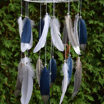 Nursery Mobile, Dream Catcher Feather Mobile, Navy Silver Nursery Mobile Decor, Baby Boy Nursery Mobile, Native American Tribal Decor