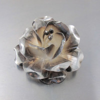 Vintage Sterling Blooming Flower Necklace Pendant Brooch Pin, Signed JRI Mexico Sterling Silver Three Dimensional Stylized Rose 2.50 Inches