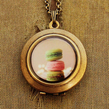 Tipping Macaron - Photo Locket - Dreamy Pastel Pastry Photo Locket Necklace