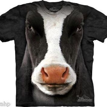 The Mountain Black Cow Face Adult T-Shirt PRINT IN USA MT73