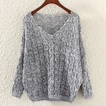V Neck Knit Sweater - Light Grey/Deep Grey