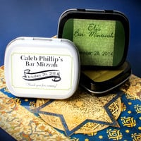 Green Damask Bar Mitzvah Personalized Mint Tins, Mints, Party Favors, Birthdays