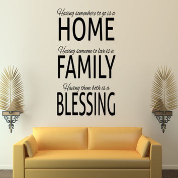 Home and family blessing wall decal quote