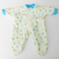 "BITTY BABY BOY Clothes, doll clothes, 15"" twin, yellow blue baby print flannel pajamas pjs sleeper, zip up,  handmade by adorabledolldesigns"