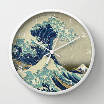 Great Wave Off Kanagawa. Japanese vintage landscape oil painting art. Wall Clock by ArtsCollection