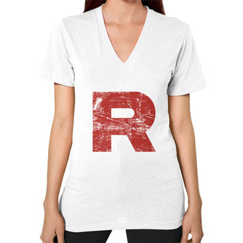 Team Rocket Grunge V-Neck (on woman)