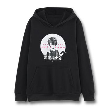 Devil Boy Print Hooded Sweatshirt