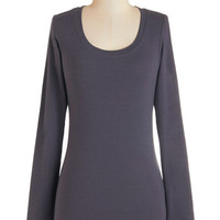 ModCloth Mid-length Long Sleeve Simply Ink Top in Stone