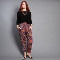 80s Ethnic HAREM PANTS / High Waist BATIK Print Trousers, xs-s