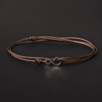 Infinity Bracelet - Brown cord men's bracelet with black clasp