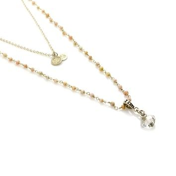 Opal Rosary Chain and Cushion Cut Pendant Sterling Silver Necklace