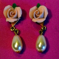 Petite Roses and Pearl Drop Earrings