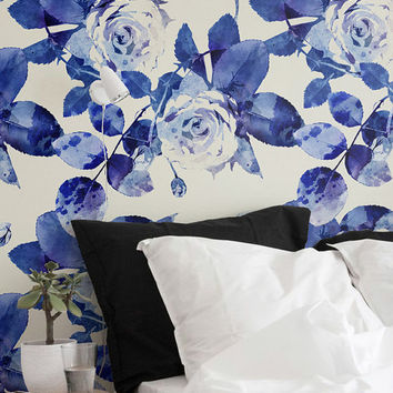 Watercolour Rose Silhouettes Wallpaper, Self-Adhesive Removable Wallpaper, Wall Decor, Rose Wallpaper, Wall Covering,  230