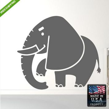Wall Decal Decal Sticker Cute Kids Detailed Elephant Animals Bedroom  z168